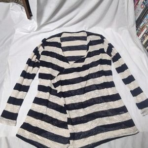 HIP Navy Blue and Cream Stripped Cardigan